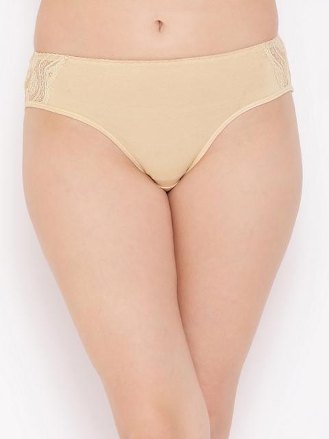 Clovia Women Beige Solid Bikini Briefs PN2808P24XL