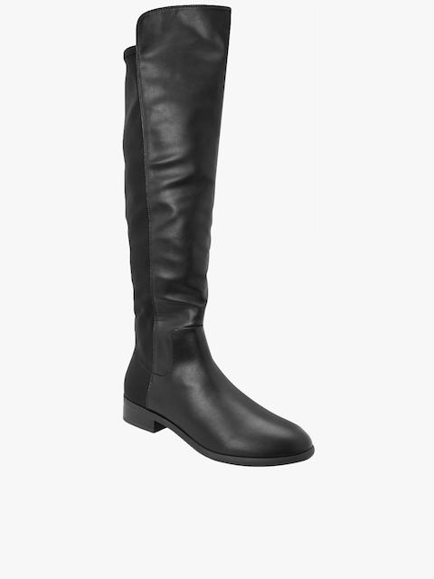 next Women Black Solid Flat Boots