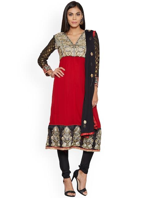 Silk Bazar Red & Black Poly Georgette Unstitched Dress Material