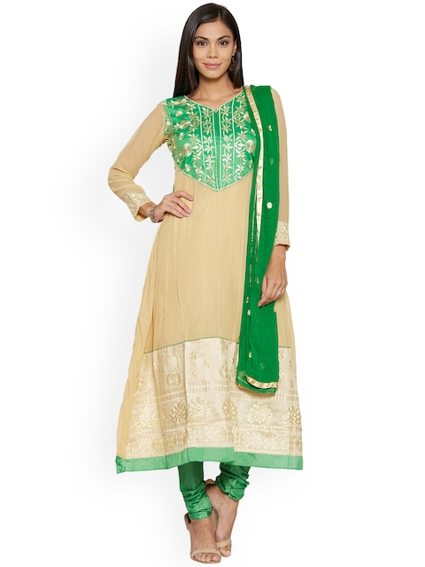 Silk Bazar Beige & Green Poly Chiffon Unstitched Dress Material