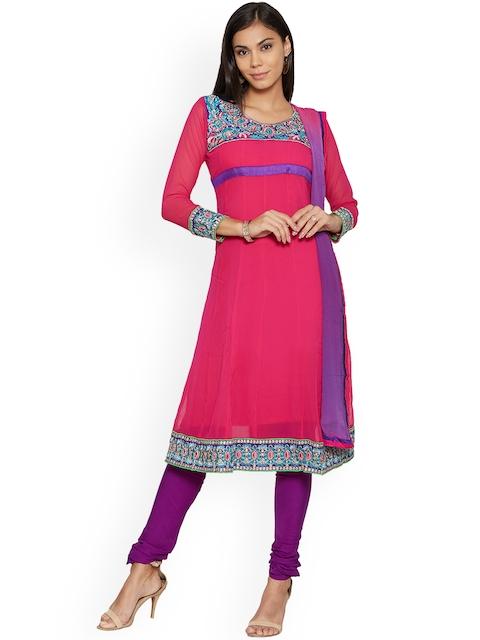 Silk Bazar Pink Poly Georgette Unstitched Dress Material