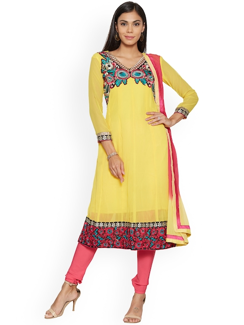Silk Bazar Yellow & Pink Poly Georgette Unstitched Dress Material