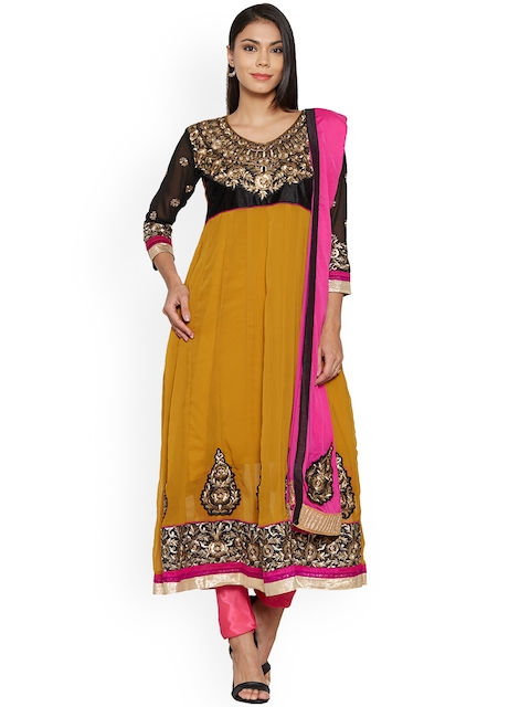 Silk Bazar Mustard & Black Poly Chiffon Unstitched Dress Material