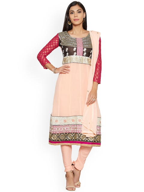 Silk Bazar Peach-Coloured Poly Georgette Unstitched Dress Material