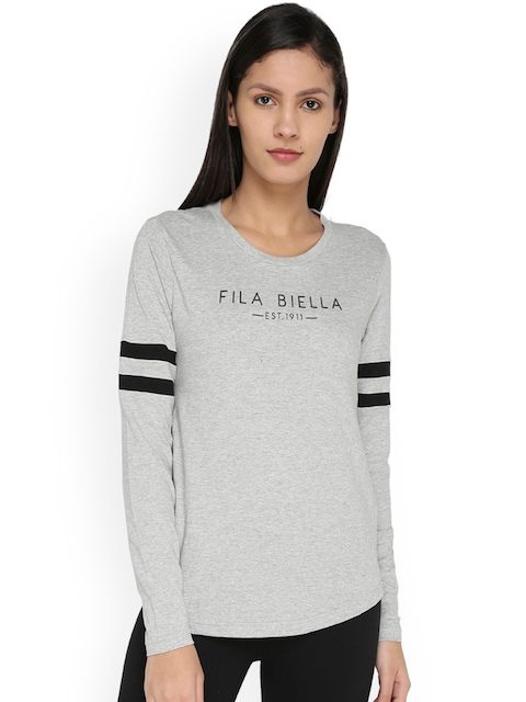 FILA Women Grey Printed Round Neck T-shirt