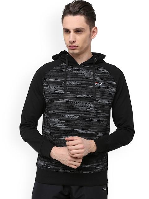 FILA Men Black Printed Hooded Sweatshirt