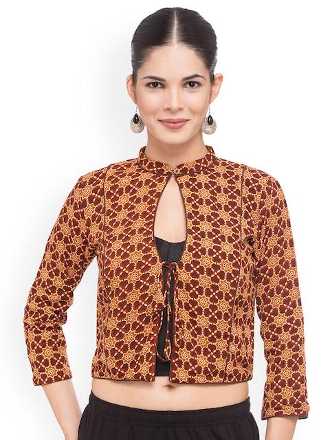 Just B Women Brown Printed Jacket Blouse