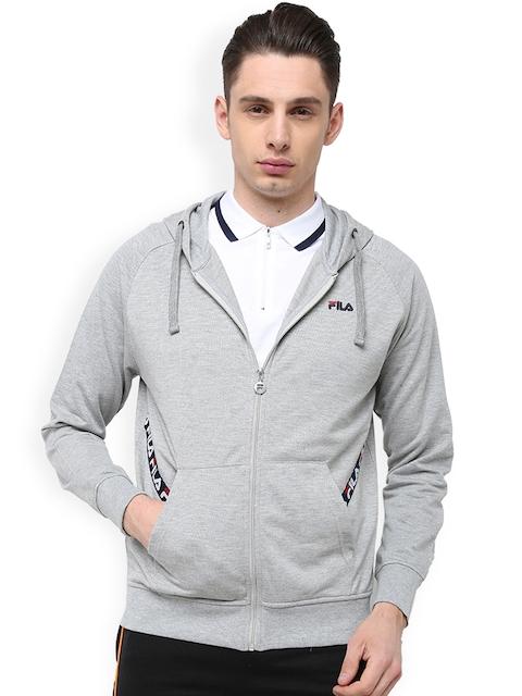 FILA Men Grey Printed Hooded Sweatshirt
