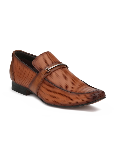 Hitz Men Tan Brown Leather Slip On Formal Shoes