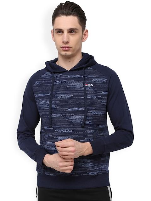 FILA Men Navy Blue Printed Hooded Sweatshirt