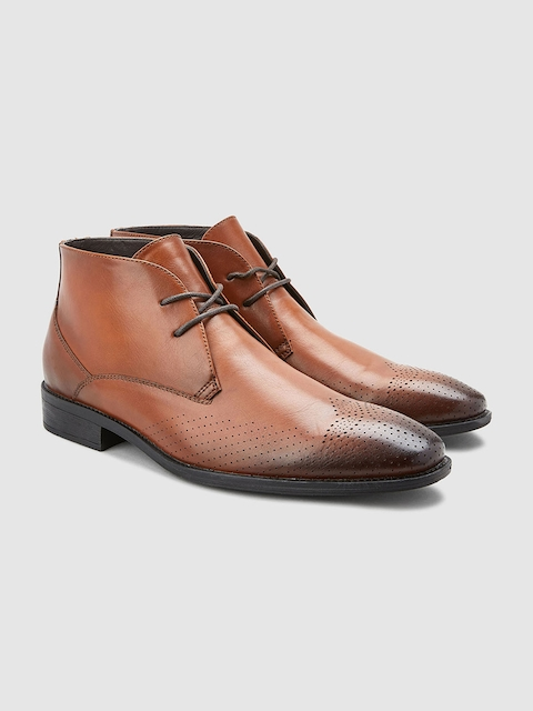 next Men Tan Brown Solid Mid-Top Flat Boots