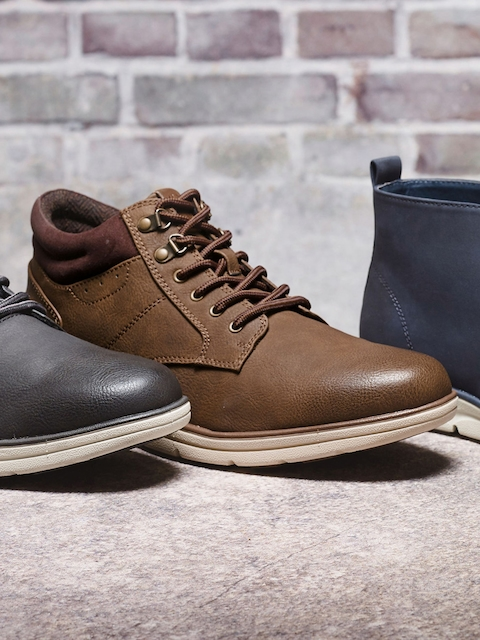 next Men Tan Brown Textured Mid-Top Flat Boots