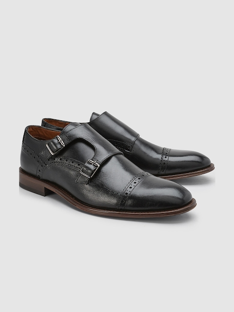 Next Men Black Leather Monk Shoes
