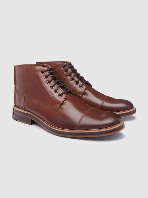 next Men Tan Solid Leather Mid-Top Flat Boots