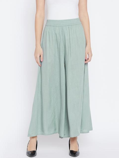 PANIT Women Green Solid Wide Leg Palazzos