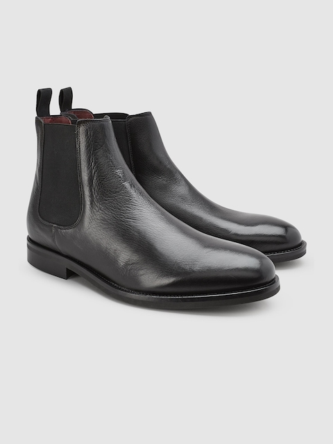 next Men Black Solid Leather Mid-Top Flat Leather Boots