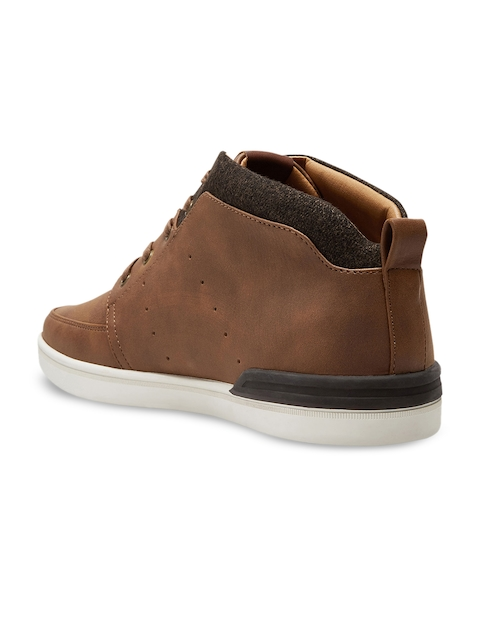 next Men Tan Solid Mid-Top Flat Boots