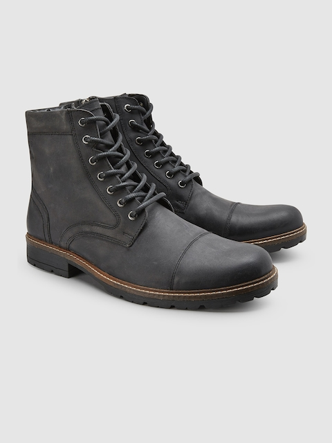next Men Black Solid Leather Mid-Top Flat Boots