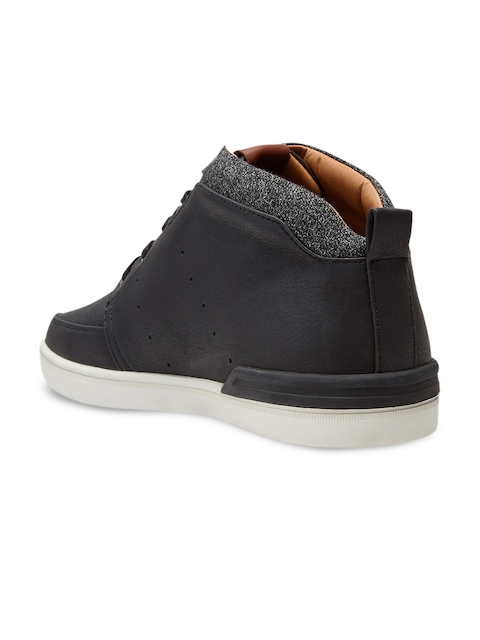 next Men Black Solid Synthetic Mid-Top Flat Boots