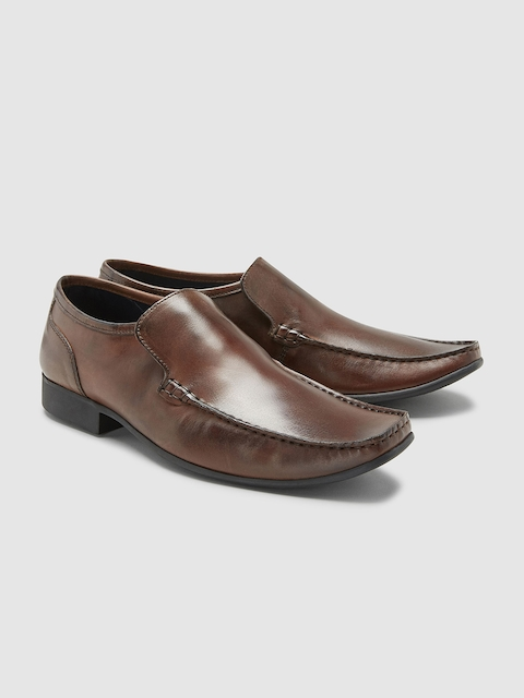 next Men Brown Leather Formal Slip-On Shoes
