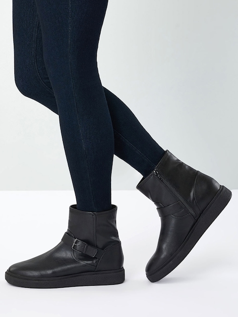 next Women Black Solid Synthetic Mid-Top Flat Boots