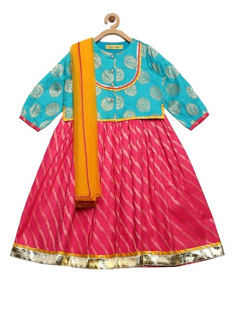Tiber Taber Girls Blue & Pink Printed Ready to Wear Lehenga & Blouse with Dupatta