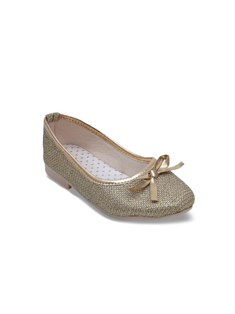 DChica Girls Gold-Toned Woven Design Synthetic Ballerinas