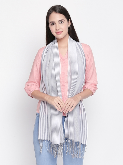 Style Quotient Women Navy Blue Striped Scarf