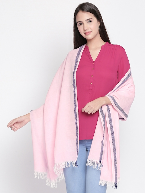Style Quotient Women Pink Solid Scarf