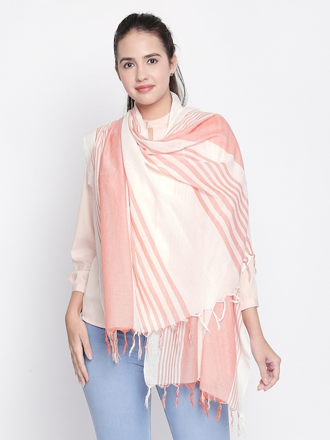 Style Quotient  Women Pink Striped Scarf