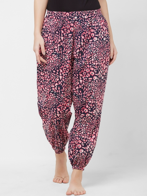 Mystere Paris Women Navy Blue & Pink Printed Mid-Rise Lounge Pants