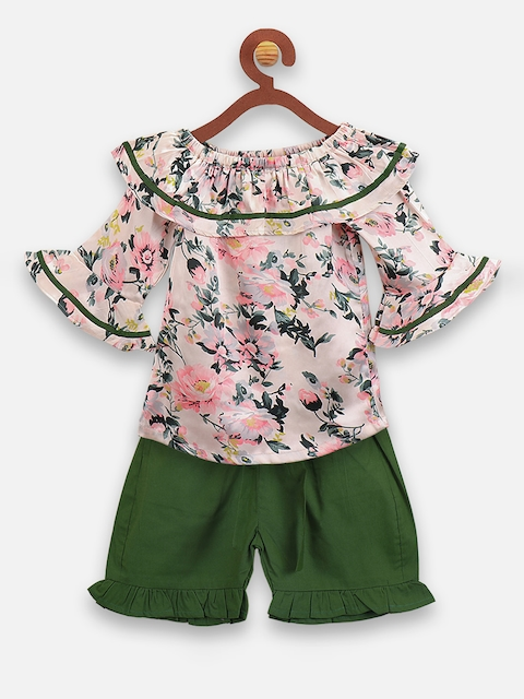 LilPicks Girls Peach-Coloured & Green Printed Top with Shorts