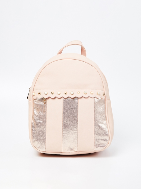 Ginger by Lifestyle Women Pink Striped Backpack