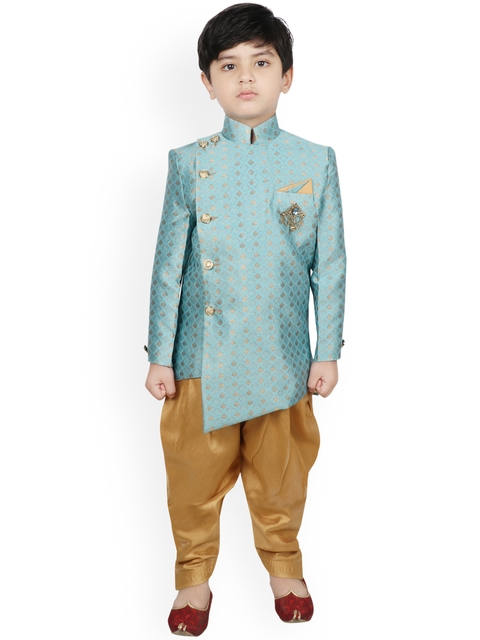 SG YUVRAJ Boys Turquoise Blue & Gold-Coloured Woven-Design Silk Sherwani