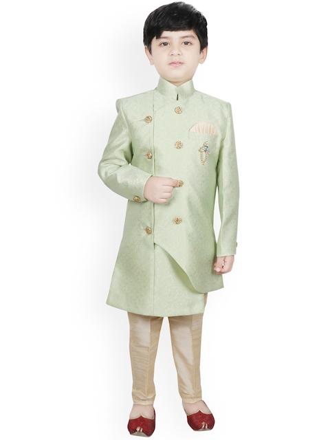 SG YUVRAJ Boys Green & Beige Woven-Design Raw-Silk Sherwani