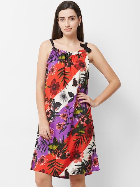The Beach Company Women Orange & Purple Printed Beach Dress