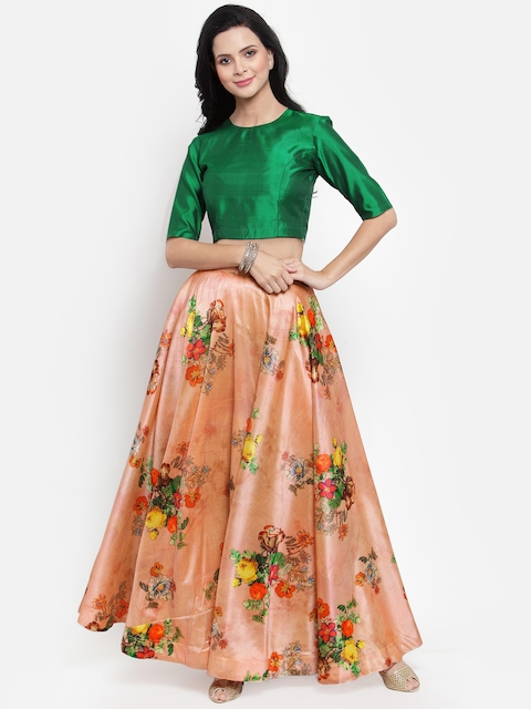 Get Glamr Green & Peach Coloured Ready to Wear Lehenga with Blouse