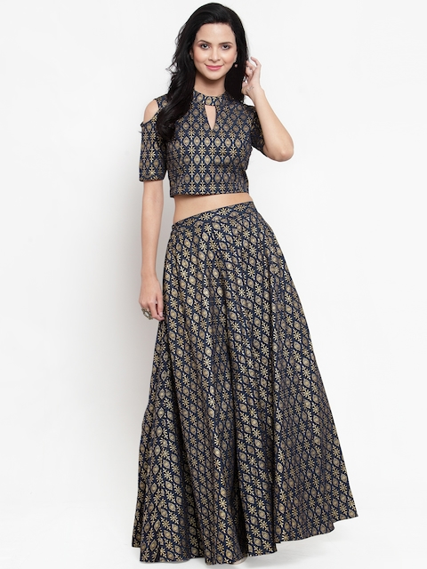Get Glamr Navy Blue & Gold-Toned Printed Ready to Wear Lehenga with Blouse