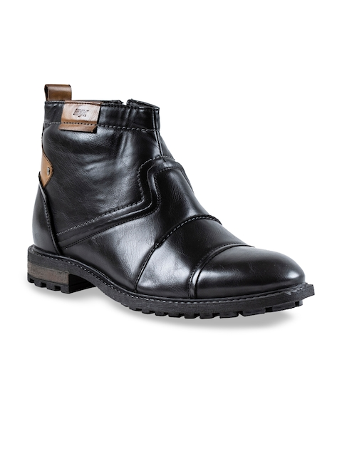 ID Men Black Solid Synthetic Mid-Top Flat Boots