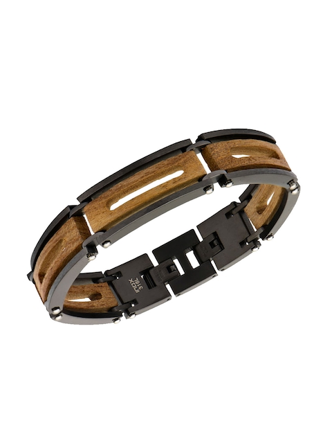 Inox Jewelry Men Brown & Black Link Bracelet