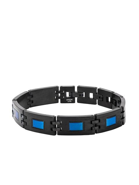 Inox Jewelry Men Blue & Black Stainless Steel Link Bracelet