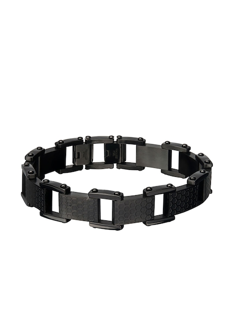 Inox Jewelry Men Black Stainless Steel Ring Bracelet