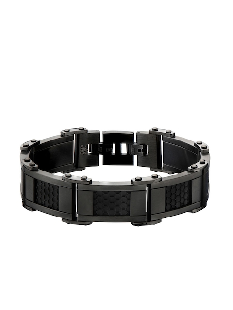 Inox Jewelry Men Black Stainless Steel Link Bracelet