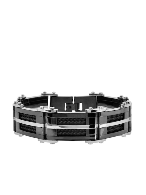 Inox Jewelry Men Black & Silver-Toned Stainless Steel Link Bracelet