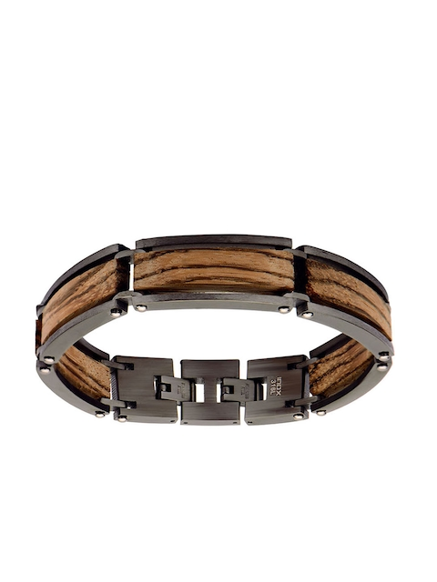 Inox Jewelry Men Brown & Grey Stainless Steel Link Bracelet