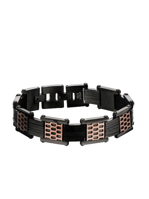 Inox Jewelry Men Black & Rose Gold Stainless Steel Link Bracelet