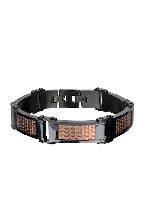 Inox Jewelry Men Brown & Black Stainless Steel Link Bracelet