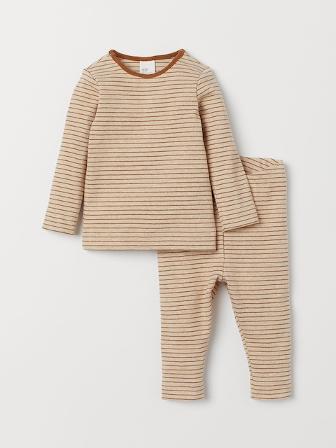 H&M Kids Beige & Brown Striped Cotton Top and Leggings