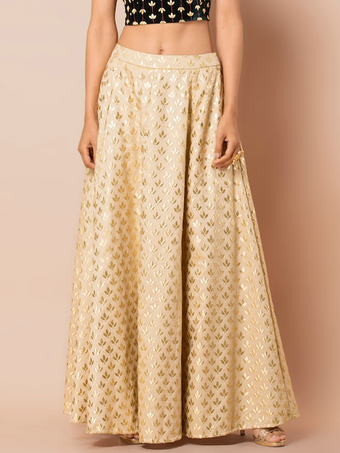 INDYA Women Cream & Gold-Coloured Foil Printed Flared Maxi Skirt