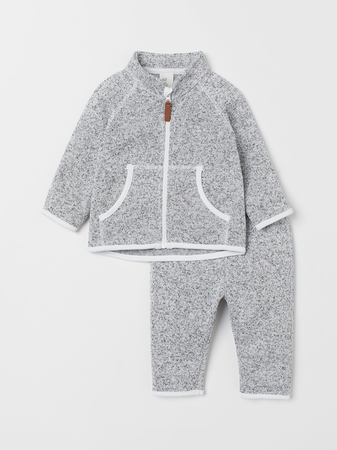 H&M Kids Grey Fleece Jacket And Trousers